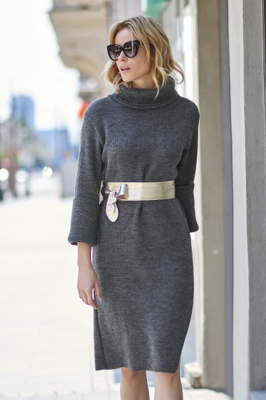 Tumši pelēka kleita-džemperis