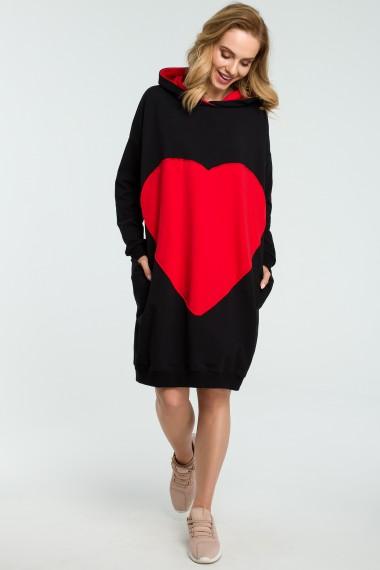 Pelēka kleita ar sarkanu sirdi