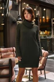Haki, adīta kleita - džemperis ar augstu apkakli