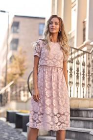 Gaiši rozā, svinīga mežģīņu kleita