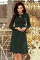 158-3 OLA trapezoidal dress with a binding at the neck - DARK GREEN