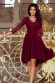 210-1 NICOLLE - dress with longer back with lace neckline - burgundy color