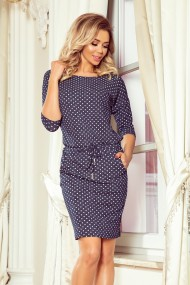 13-97 Sports dress with binding and pockets - jeans with polka dots