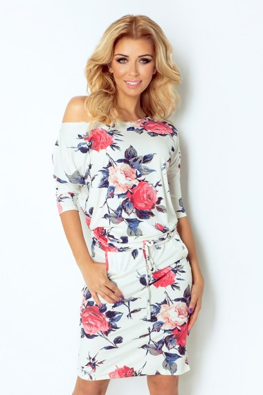 Sporty dress - colored large flowers 13-49