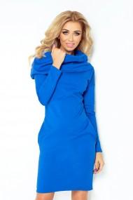 Zila kleita ar augstāku apkakli