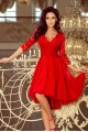 210-6 NICOLLE - dress with longer back with lace neckline - Red