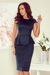 192-9 Elegant midi dress with frill - navy blue