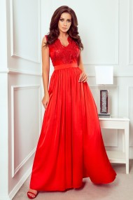 256-3 SALLY long dress with embroidered neckline - red