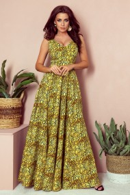 246-2 CINDY long dress with a neckline - gold + black