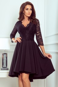 210-10 NICOLLE - dress with longer back with lace neckline - Black