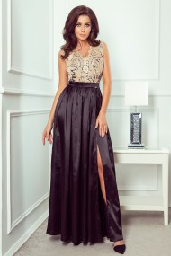 256-4 SALLY long dress with embroidered neckline - black