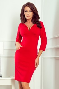 269-1 MISSY Fitted dress with a neckline - red