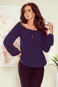 271-1 Blouse with tie - navy blue