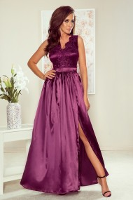256-2 SALLY long dress with embroidered neckline - plum