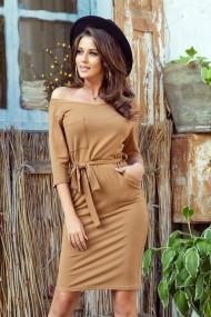 278-3 Dress with a pocket - caramel