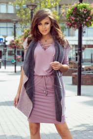 276-1 Reversible warm vest - pink + gray