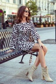 275-3 JENNY Comfortable dress with binding at the waist - panther