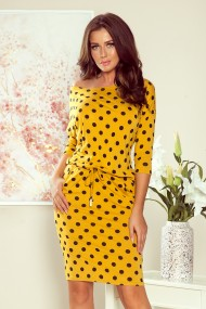 13-106 Sports dress with binding and pockets - mustard color + polka dots