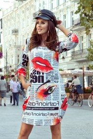 281-1 SOPHIE Comfortable Oversize dress - newspaper pattern