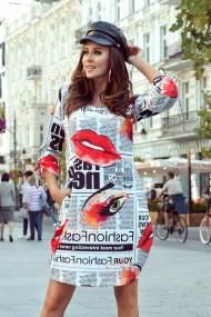 281-1 SOPHIE Comfortable Oversize dress - newspaper pattern