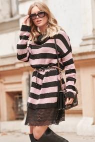 Rozā-melna kleita-džemperis