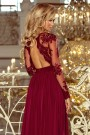 213-2 ARATI long dress with embroidered neckline and long sleeves - burgundy color