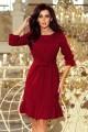 193-7 MAYA Dress with flounces and belt - Burgundy color