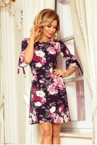 217-5 NEVA Trapezoidal dress with flared sleeves - black + flowers