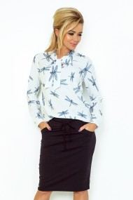 Blouse with bond - white - dragonfly 140-1