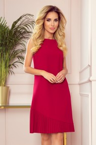 308-2 KARINE - trapezoidal dress with asymmetrical pleat - red