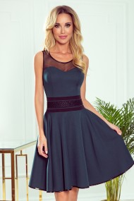 261-2 RICA Dress with tulle inserts - green