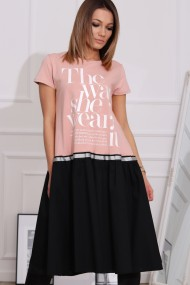 Gaiši rozā-melna kleita