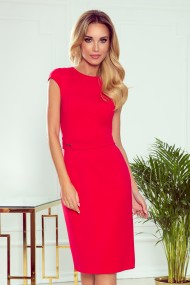 301-2 TAMARA Elegant midi dress with belt - red