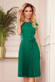 311-3 LILA Pleated dress with short sleeves - Green