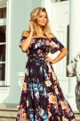 194-3 Long dress with frill - black + colorful flowers
