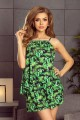 197-1 Set - blouse + shorts - green leaves