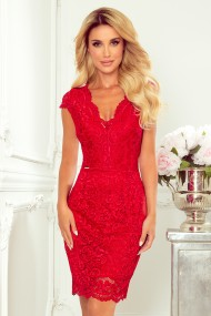 316-1 Lace dress with neckline - red