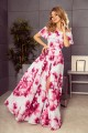 194-2 Long dress with frill - big pink flowers