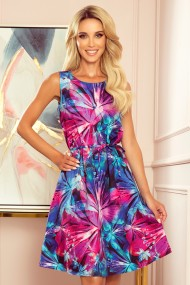 296-3 VICTORIA Trapezoidal dress with blue and pink flowers