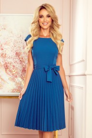 311-4 LILA Pleated dress with short sleeves - sea color