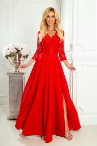 309-3 AMBER elegant lace long dress with a neckline - red color