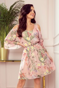 292-1 MARINA flimsy dress with a neckline - pink with flowers
