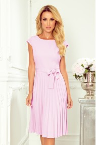 311-6 LILA Pleated dress with short sleeves - bright heather