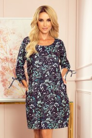 281-4 SOPHIE Comfortable Oversize dress - leaves on a dark background