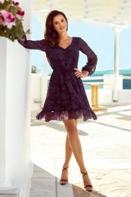 295-4 BAKARI flimsy dress with a neckline - pink and blue mandalas