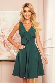 274-2 ANITA Frill dress - green