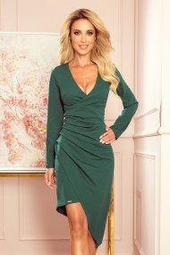 290-2 Asymmetrical dress with a neckline and draping - GREEN