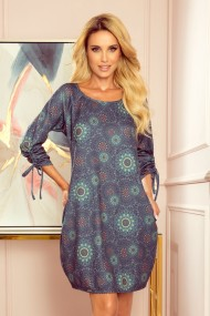 281-5 SOPHIE Comfortable Oversize dress - green mandalas
