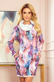 282-2 IRENE Turtleneck dress - pink marble