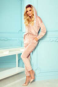 325-1 JASMINE - velor tracksuit with numoco stripes and a hood - powder pink